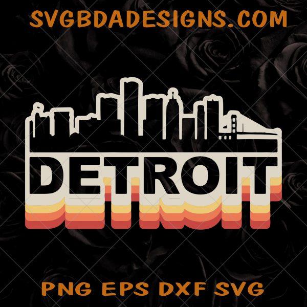 Detroit City Skyline Svg - Detroit City Skyline - Vintage Retro SVG - Detroit Tourist SVG - Detroit Michigan SVG - Digital Download File