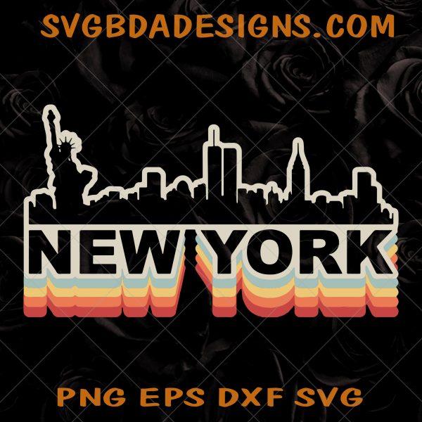 New York City Skyline Svg - New York City Skyline -Vintage Retro SVG- New York Tourist SVG- I Love New York SVG- Digital Download