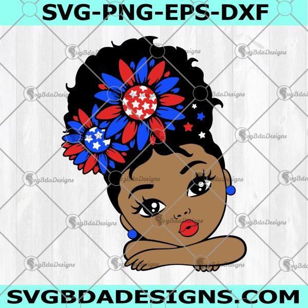 Peekaboo Girl Svg - Peekaboo Girl - 4th of July Svg -USA Sunflower Girl Svg, African American Svg - Afro Puff Girl Svg - Afro Princess Svg - Digital Download