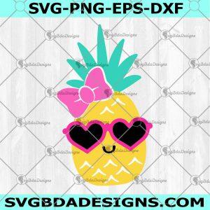Pineapple Svg -Pineapple -Cute Pineapple Svg - Kawaii- Sunglasses - Cricut, Silhouette - Digital Download
