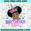 Unicorn Girl Birthday Svg- Birthday Girl Svg- Birthday Unicorn Svg- Peekaboo Girl Svg- Afro Ponytails Svg- Afro Princess Svg- CriCut -Silhouette- Digital Download