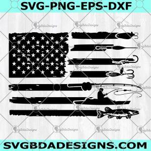 Fishing Flag SVG - Fishing American Flag Svg- Fisherman Dad - Fisherman Grandpa - Cricut- Silhouette- Digital Download