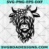 Highland Heifer Cow svg- Highland Heifer svg- Cow Flower Svg- Cow svg- Cow with Flower Crown SVG- Cricut- Silhouette- Digital Download