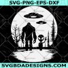 Bigfoot and alien under the moon Svg - Bigfoot and alien under the moon - Bigfoot SVG - Bigfoot - Digital Download