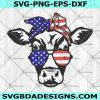 4th of July Cow Svg - Patriotic Cow Svg - Cow Glasses Svg - July 4th - Cow Bandana - USA July 4th Animals Svg