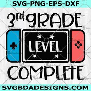 Third Grade Level Complete SVG - 3rd Grade Level Complete - 3rd Grade Graduation Svg - Video Game svg - Grade School Svg - Digital Download