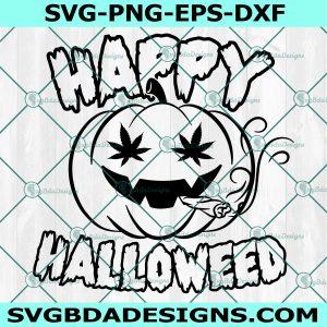 Happy Halloweed SVG, Halloween Weed Svg, Smoking Jack O Lantern Svg, Weed Svg ,Canabis svg, Cricut, Digital Download