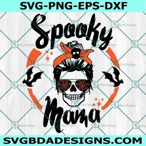 Spooky Mama svg, Messy Bun Skull svg, Spooky Season svg, Halloween Svg ,Sihouette, Cricut, Digital Download