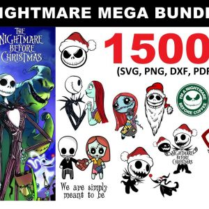 Nightmare Before Christmas Bundle SVG - 1500 File - Nightmare Before Christmas Bundle - Jack And Sally Svg - Halloween Svg - Digital Download