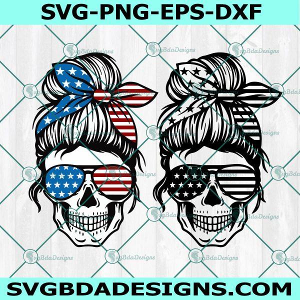 American Flag Skull svg, American Flag Skull, Messy bun skull svg, Mom life SVG, Momlife skull Svg, Patriotic svg, Cricut, Digital Download