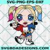 Baby Harley Quinn Svg, Baby Harley Quinn, Harley Quinn Svg, Chibi SuperHero Svg, DC Comic Svg, Cricut, Digital Download