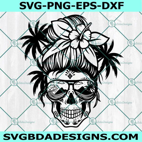 Beach Mom Skull svg, Beach Mom Skull ,Messy bun skull svg, Mom life SVG, Momlife skull Svg, Patriotic svg, Cricut, Digital Download