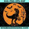 Halloween Dinosaur Svg, Halloween Dinosaur, T-Rex with Pumpkin Svg, Spooky Saurus Rex Svg , Halloween Svg, Cricut , Digital Download