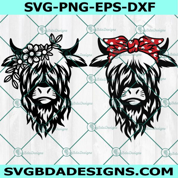 Highland Cow Svg, Cow Svg, Heifer Svg, Cow Head Svg, Cow Print, Cow Face Svg, Cow with Flowers Svg, Cute Cow Svg, Cricut, Digital Download