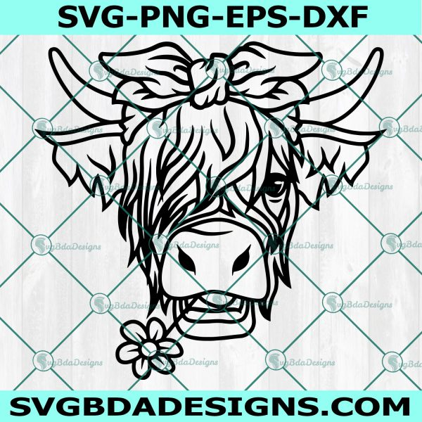 Highland Cow Bandana SVG, Highland Cow Bandana, Highland Heifer svg, Cow Heifer Svg, Cow with Flower Crown SVG,Cricut, Digital Download