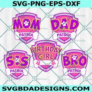 Patrol family logo svg ,Patrol Birthday Svg, Mom Patrol, Dad Patrol Svg, Sister Patrol, Brother Patrol, Birthday Girl Patrol Svg, Cricut, Digital Download
