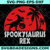 Spooky Saurus svg, Spooky Rex Svg, Halloween Dinosaur svg, Dinosaur with Pumpkin svg, T-Rex svg , Cricut, Digital Download