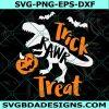 Trick Rawr Treat Svg, Dinosaur Svg, Halloween Svg, Funny T-Rex with Pumpkin Svg, Kids Svg , Cricut , Digital Download