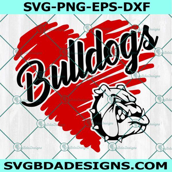 Bulldogs svg, Dogs svg, Bulldog Heart Svg, School Spirit Pride Svg, HighSchool Mascot Svg, Cricut, Digital Download