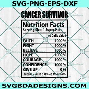Cancer Survivor SVG, Breast Cancer SVG, Cancer Awareness SVG, Nutrition Fact svg, Cricut, Digital Download