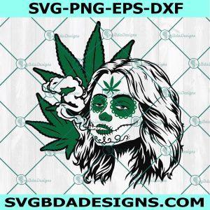 Cannabis Sugar Skull SVG, Day Of The Dead Girl Svg, Dia De Los Muertos Svg, Cricut, Digital Download