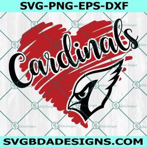 Cardinals Heart Svg, High SchoolMascot Svg, School Spirit Svg, Cardinals Head Sport Svg, Cardinals Svg,Cricut, Digital Download