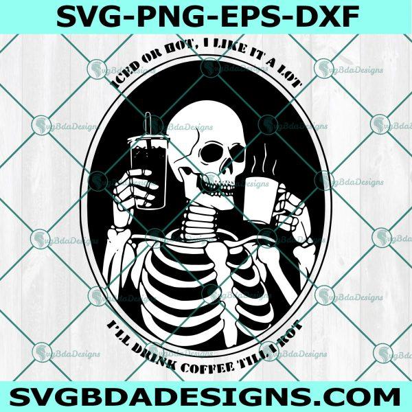 Coffee Skull Svg, Skeleton Svg, Day of the Dead Svg, Skeleton Skull Coffee Svg, Cricut, Digital Download