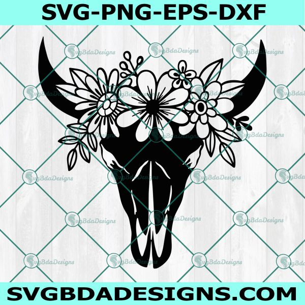 Cow Skull with Flowers SVG, Cow Skull svg, Cow Skull Floral svg, longhorn skull svg, Cricut, Digital Download