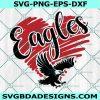 Eagles Heart SVG, Eagles Mascot Sports SVG, School Spirit Pride Svg, HighSchool Mascot Svg, Cricut, Digital Download