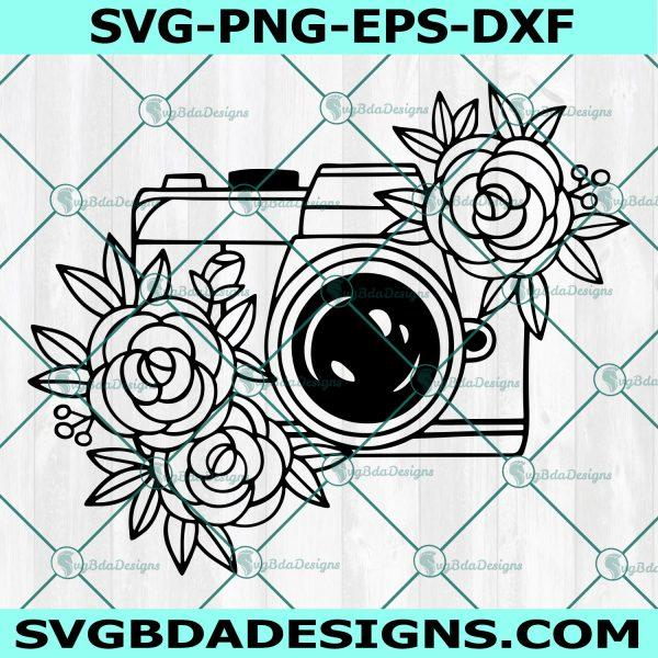 Floral Camera SVG, Flower Camera, Photography SVG, Photographer SVG, Camera with Flowers Svg, Cricut, Digital Download
