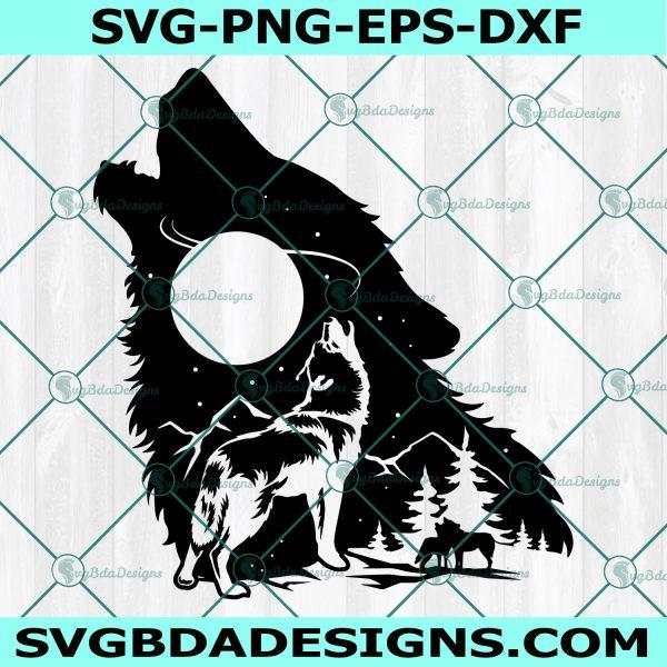 Howling Wolf SVG , Wolf svg, Mountain Wolf svg, Wolf Pack svg,Cricut, Digital Download