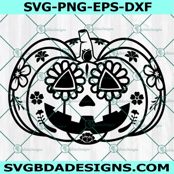Jack O'Lantern Sugar Skull SVG, Halloween Pumpkin Svg, Sugar Skull svg, Cricut, Digital Download