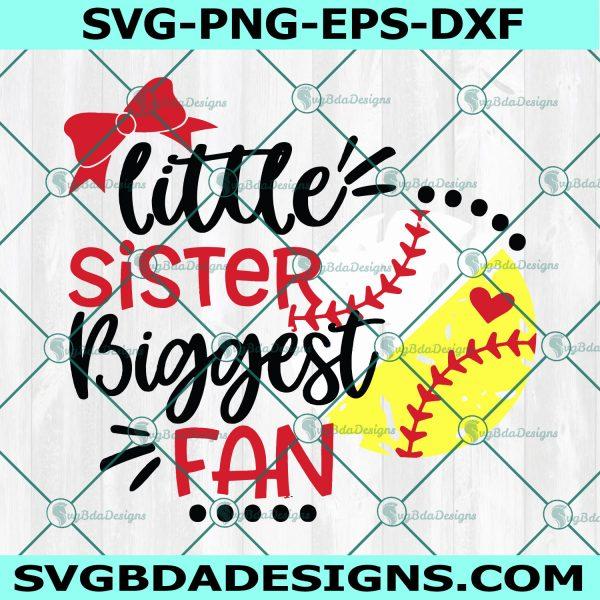 Little Sister Biggest Fan Svg, Softball, Girl Baseball Svg, Half Baseball Softball Svg, Cricut, Digital Download