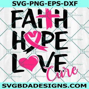 Love hope cure svg, Breast cancer svg, Breast cancer awareness svg, Hope svg, Cure svg, Breast cancer ribbon svg, Cricut, Digital Download