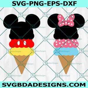 Mickey Mouse Ice Cream, Mickey Mouse svg, Minnie Mouse Ice Cream svg, Minnie Mouse svg, Disney Snacks, Cricut, Digital Download
