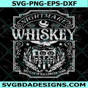 Nightmare High Grade Whiskey SVG, Halloween SVG, Jack Skellington Whiskey SVG, Whiskey svg, Cricut, Digital Download