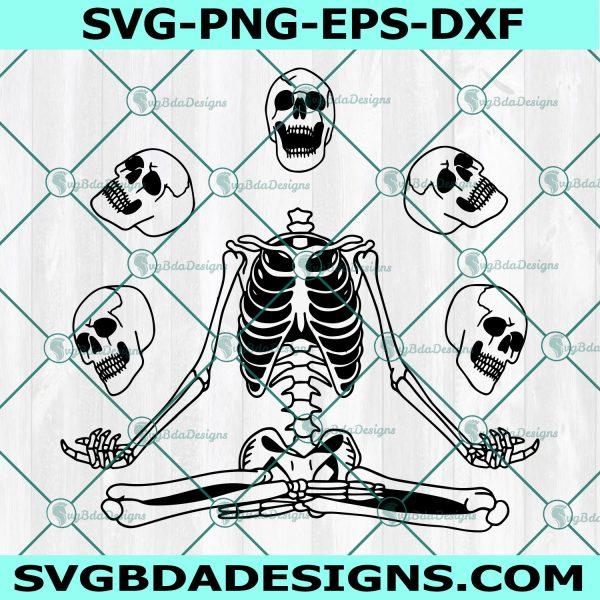 Skeleton meditation svg, Funny skeleton svg, Meditating skeleton svg, Spooky skeleton skull svg, Cricut, Digital Download