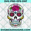 Skull Roses Flowers Svg, Sugar Skull Svg, Death Love Dead Head Svg, Cricut, Digital Download