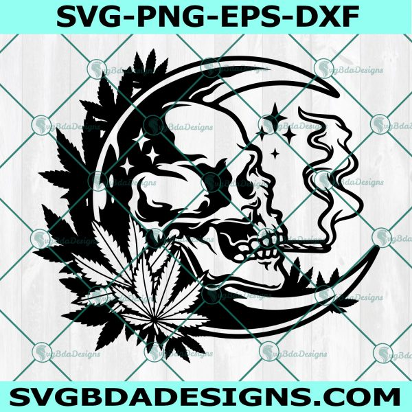 Smoking Weed Moon High Svg, Moon Smokig High Svg, Skull Smoking Weed svg, Smoking Skull High svg, Skull Smoking Joint svg,Cricut, Digital Download