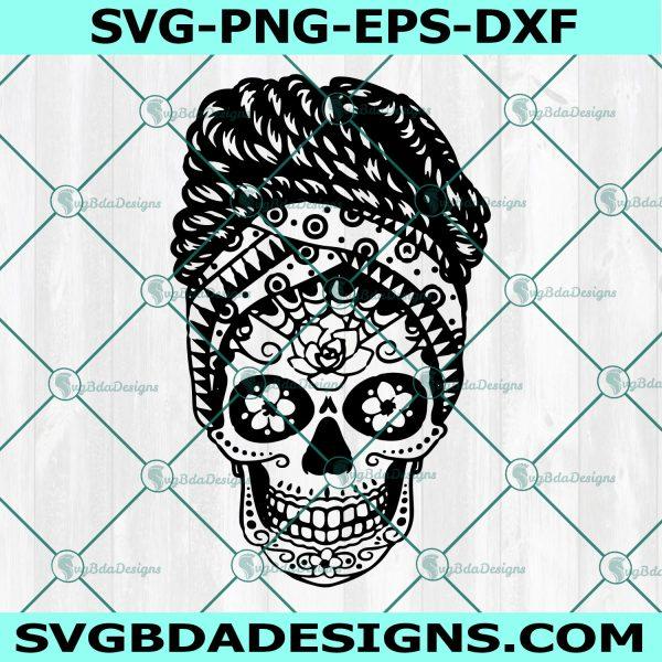 Sugar Skull Afro Bun svg, Afro Bun Hair svg, Braided Afro svg, Sugar Skull svg, Hair Bun svg, Mom Bun svg , Cricut, Digital Download