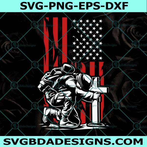 USA Soldier Kneeling at Cross SVG, Kneel for the Fallen svg, Kneeling Soldier, Veterans svg, US Flag svg, Soldier Kneel Svg,Cricut, Digital Download