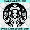 Wednesday Addams Starbucks SVG, Addams Family Svg, Wednesday Addams SVG, Starbucks Coffee Svg , Cricut, Digital Download