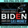 Whoever voted Biden owes me gas money SVG,Political Humor Satire svg,Joe Biden Democratic Party Svg, Cricut, Digital Download