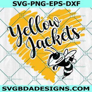 Yellow Jacket Heart Svg, HighSchool Mascot Svg, School Spirit Svg, Yellow Jacket Svg,Cricut, Digital Download