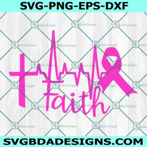 Cross Heartbeat Ribbon Svg, Breast Cancer SVG, survivor svg, awareness svg, Cricut, Digital Download