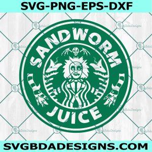 Beetlejuice Starbucks coffee logo svg, Sandworms juice logo SVG, Horror Movies svg, Halloween SVG, Cricut, Digital Download