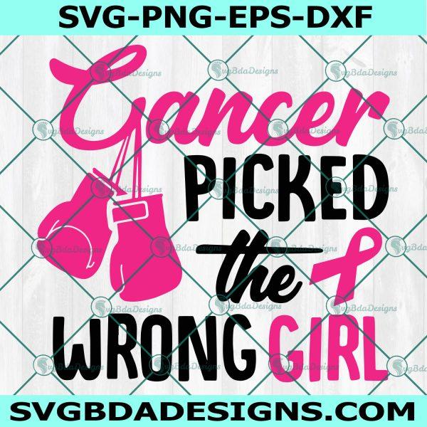 Cancer Picked The Wrong Girl Svg, Breast Cancer Svg, Cancer Awareness Svg, Pink Ribbon Svg, Cancer Ribbon Svg, Cricut, Digital Download