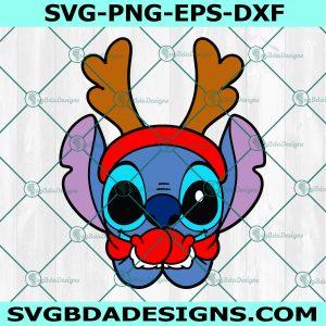 Christmas Stitch Svg, Christmas Cartoon character With Horns Svg, Cartoon svg, Merry Christmas svg, Cricut, Digital Download