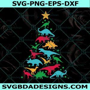 Dinosaur Holiday Tree Svg, Tree Christmas Svg, Cricut, Digital Download