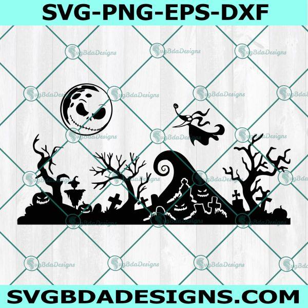 Jack Skellington Nightmare Scene SVG, Halloween Svg, Nightmare Before Christmas Svg, Jack and Zero Dog Svg, Cricut, Digital Download